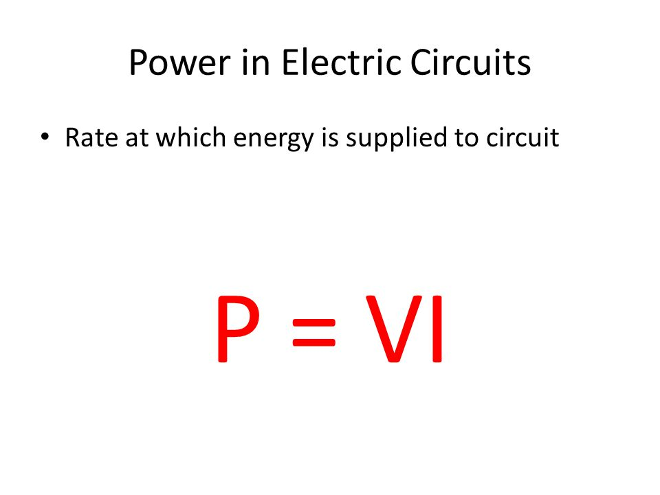 Power in Electric Circuits