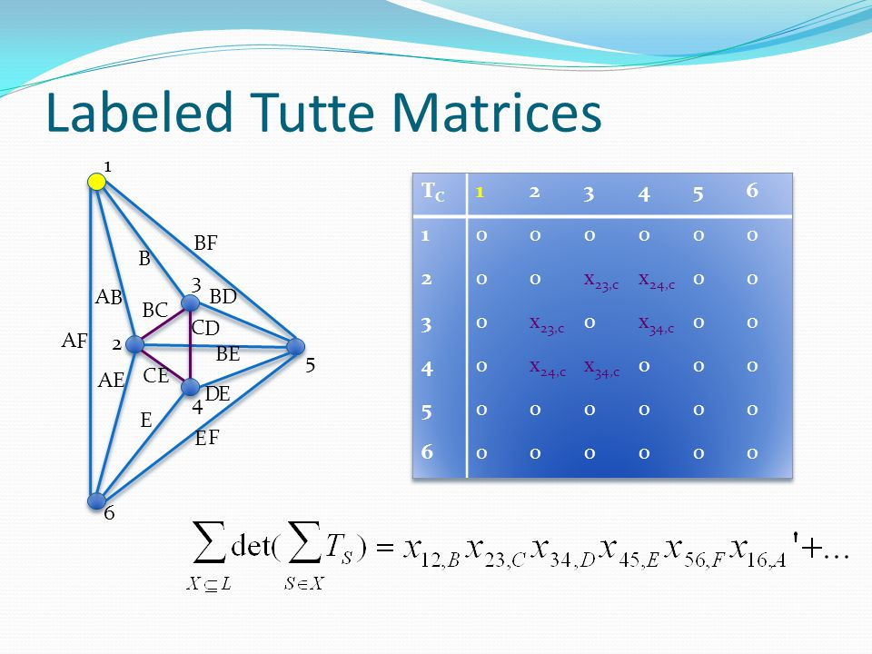 Labeled Tutte Matrices