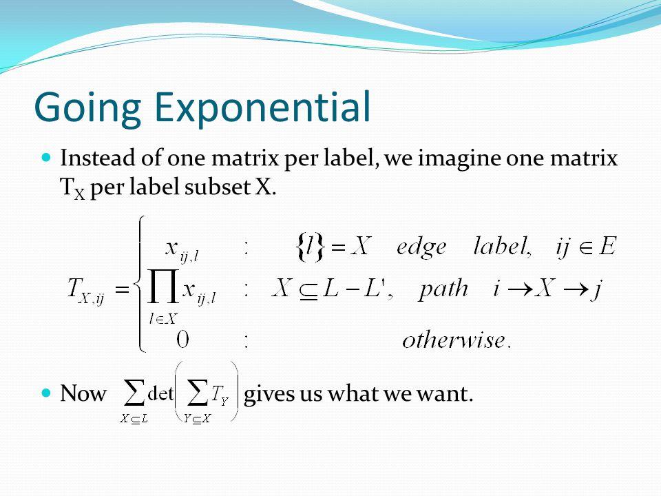 Going Exponential Instead of one matrix per label, we imagine one matrix TX per label subset X.