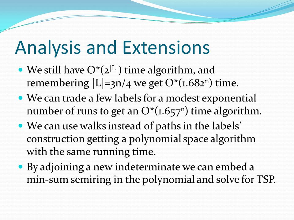 Analysis and Extensions