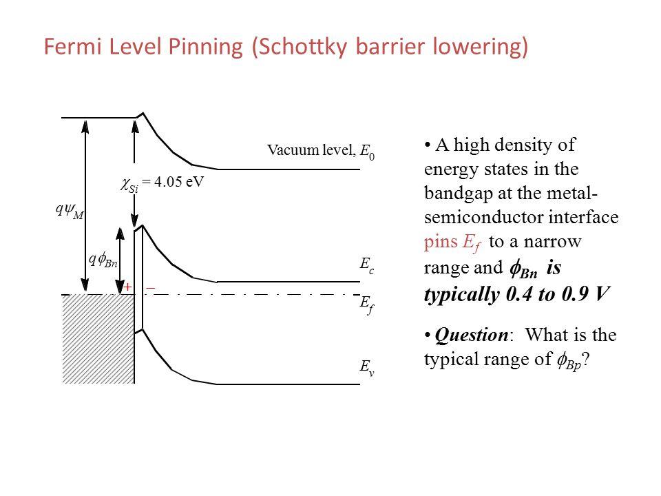 Fermi Level Pinning (Schottky barrier lowering)