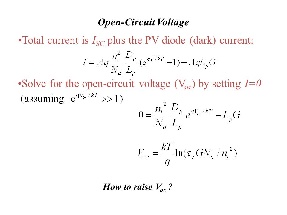 Total current is ISC plus the PV diode (dark) current:
