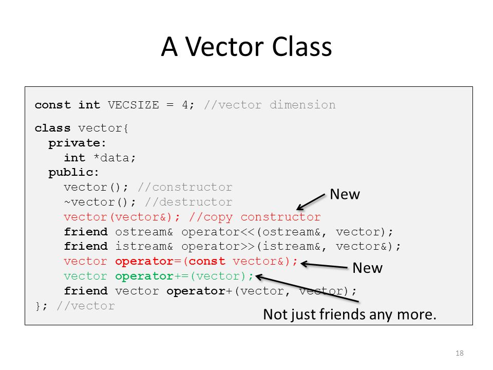 A Vector Class New New Not just friends any more.