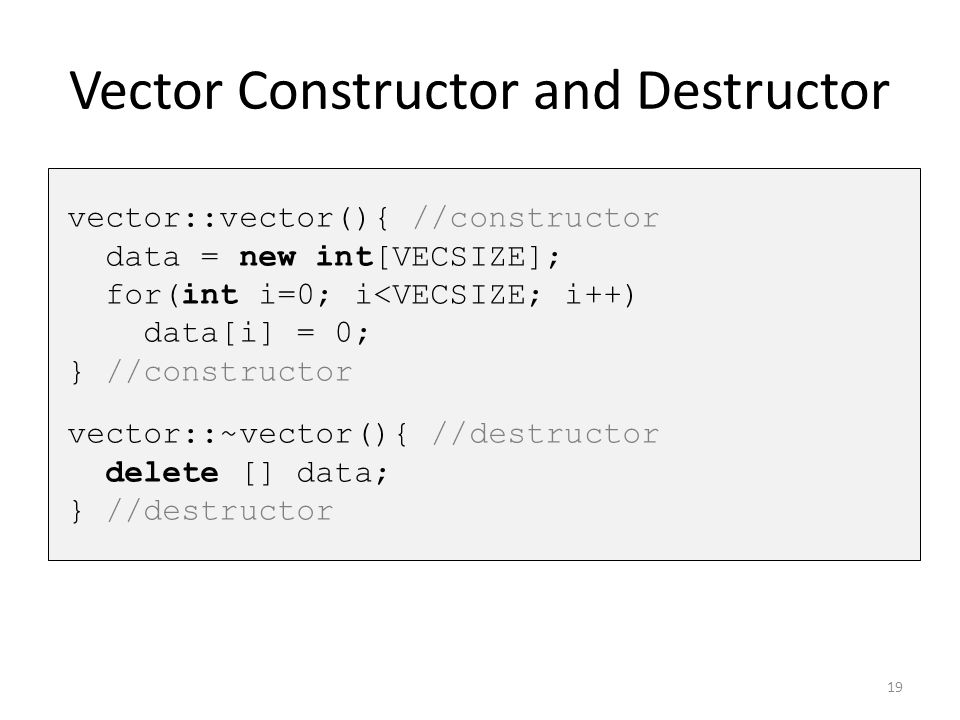 Vector Constructor and Destructor