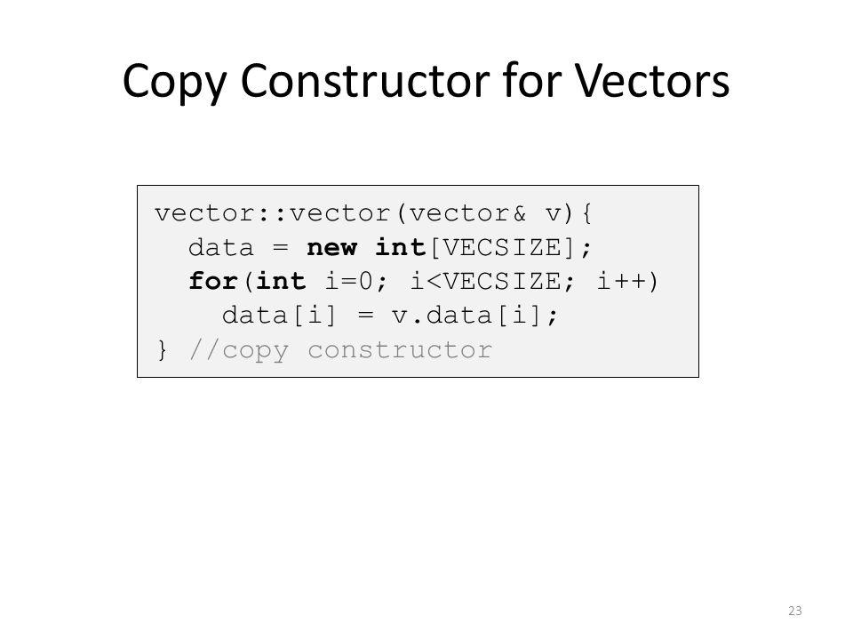 Copy Constructor for Vectors