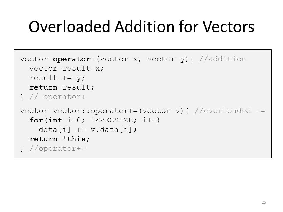 Overloaded Addition for Vectors