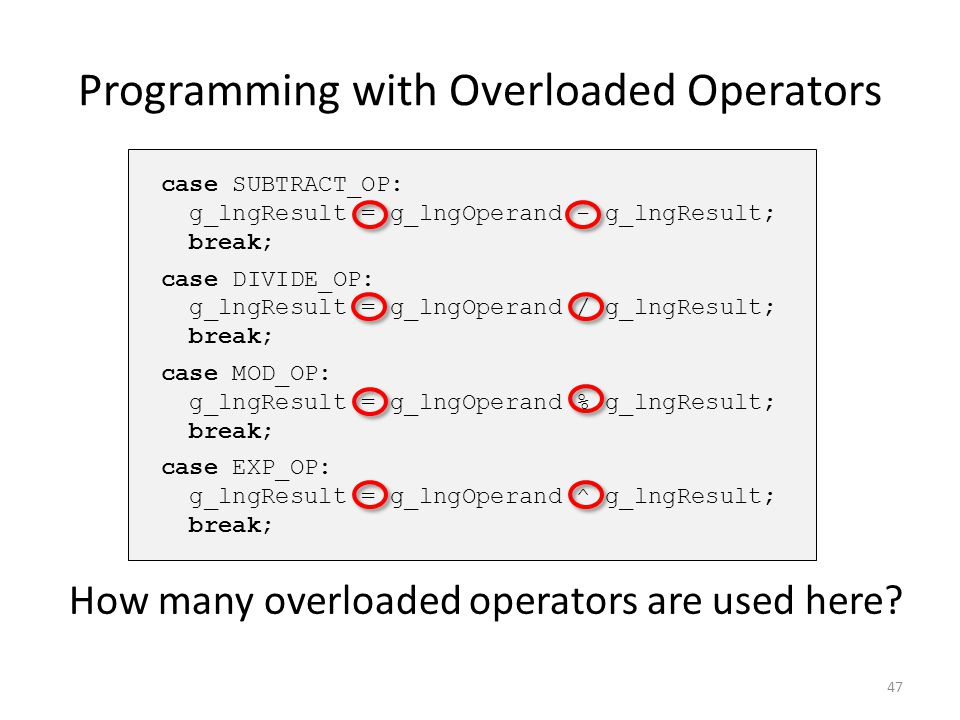 Programming with Overloaded Operators