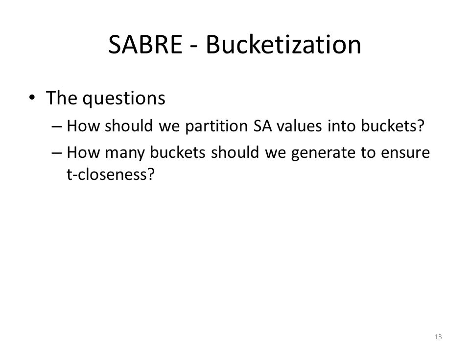 SABRE - Bucketization The questions