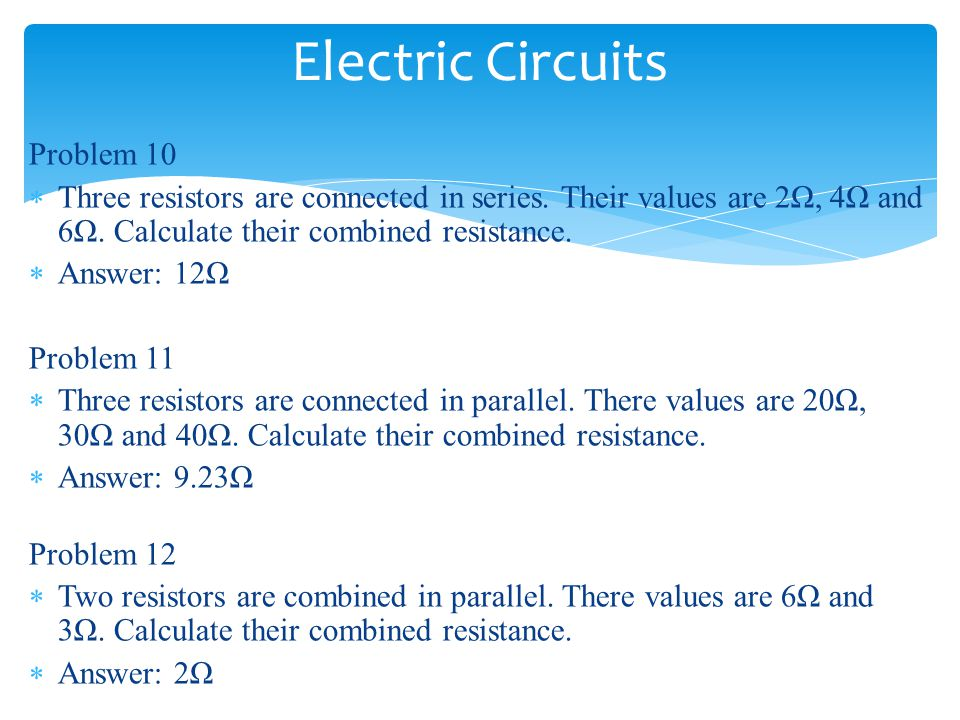 Electric Circuits Problem 10