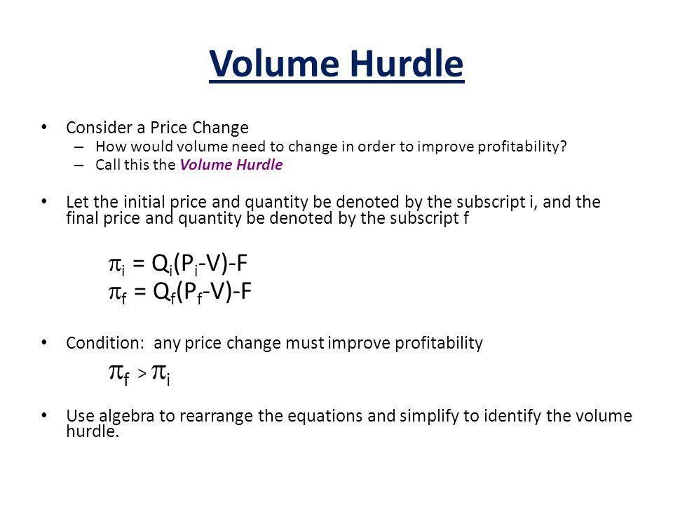 Volume Hurdle pf > pi pi = Qi(Pi-V)-F pf = Qf(Pf-V)-F