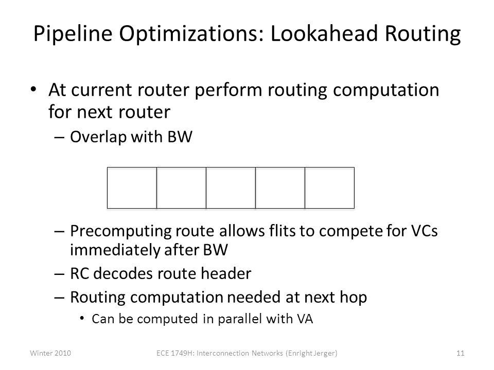 Pipeline Optimizations: Lookahead Routing