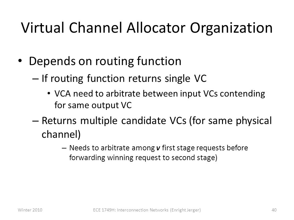 Virtual Channel Allocator Organization