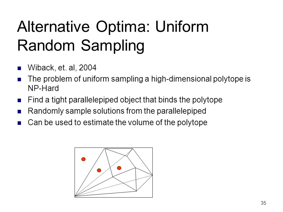 Alternative Optima: Uniform Random Sampling