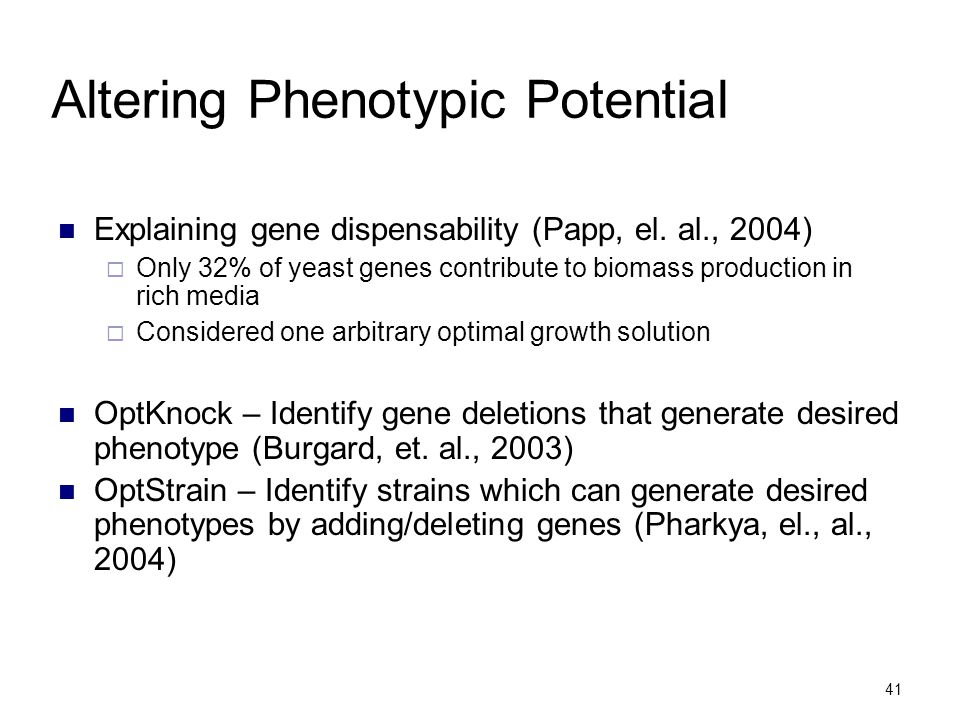 Altering Phenotypic Potential