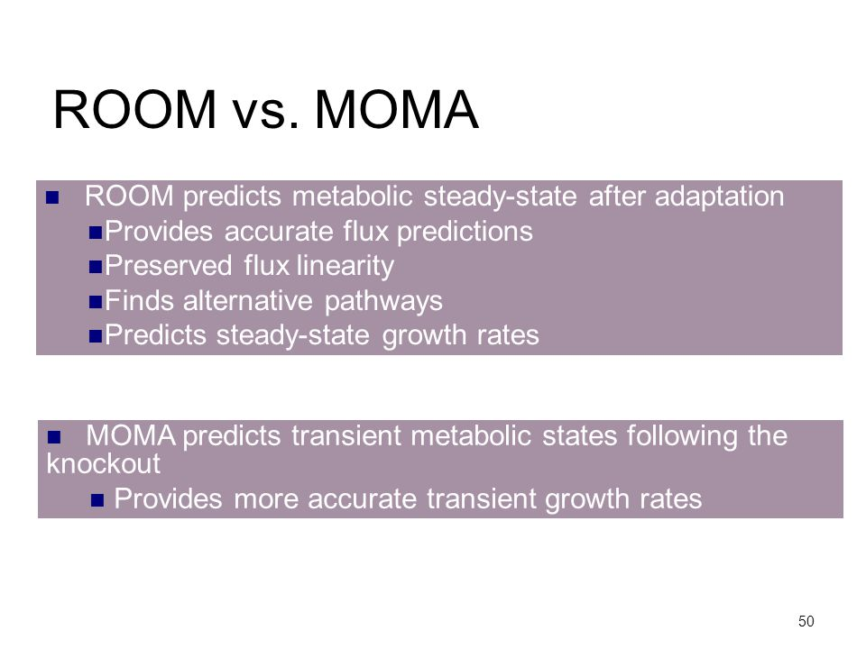 ROOM vs. MOMA ROOM predicts metabolic steady-state after adaptation
