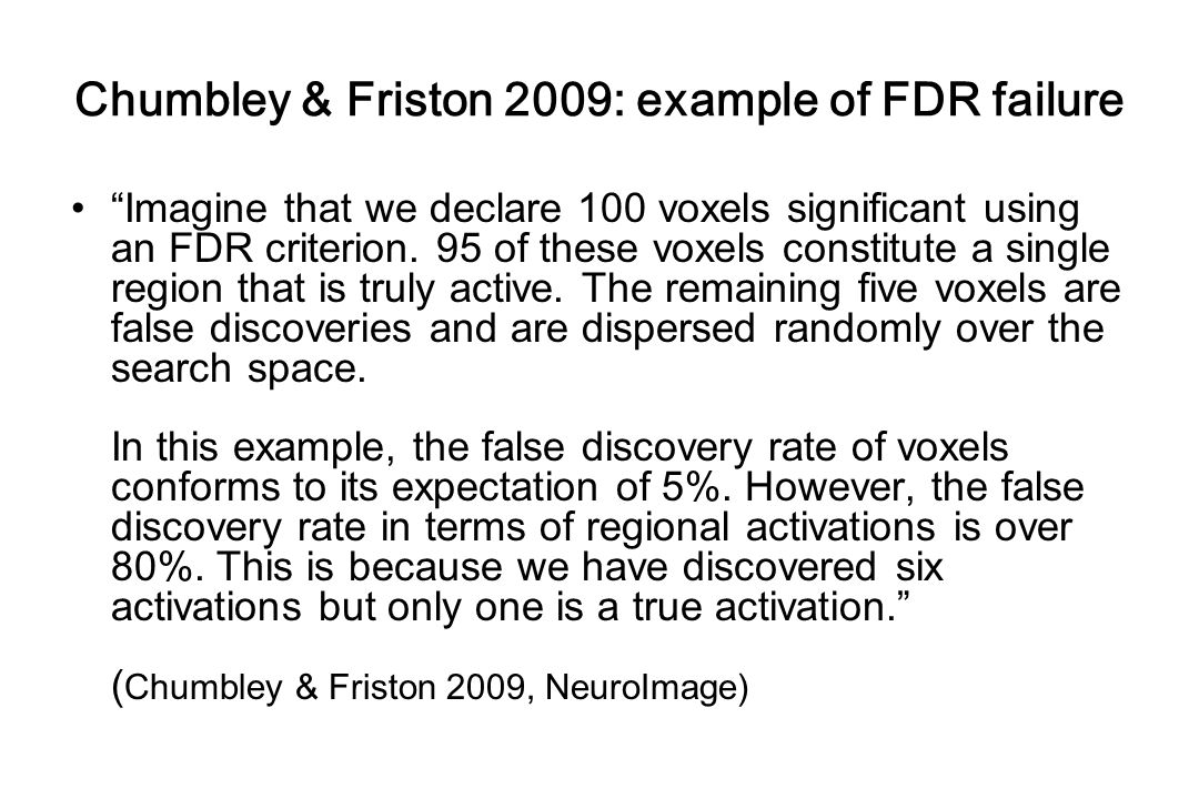 Chumbley & Friston 2009: example of FDR failure