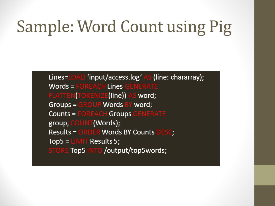 Sample: Word Count using Pig
