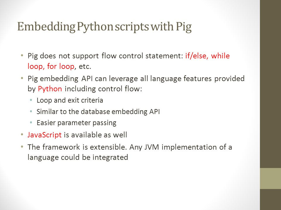 Embedding Python scripts with Pig