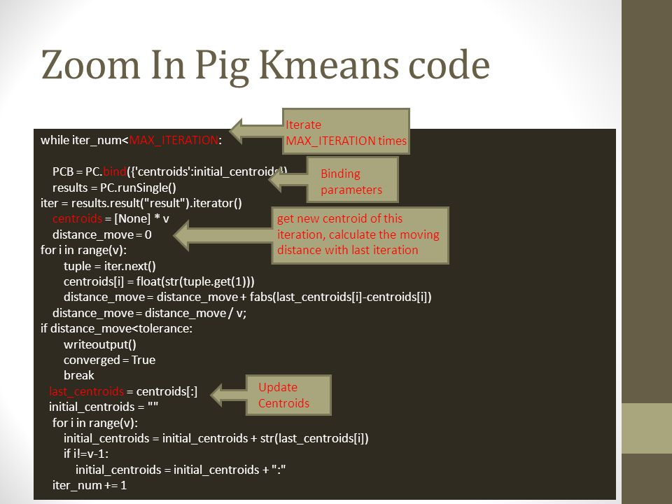 Zoom In Pig Kmeans code Iterate MAX_ITERATION times