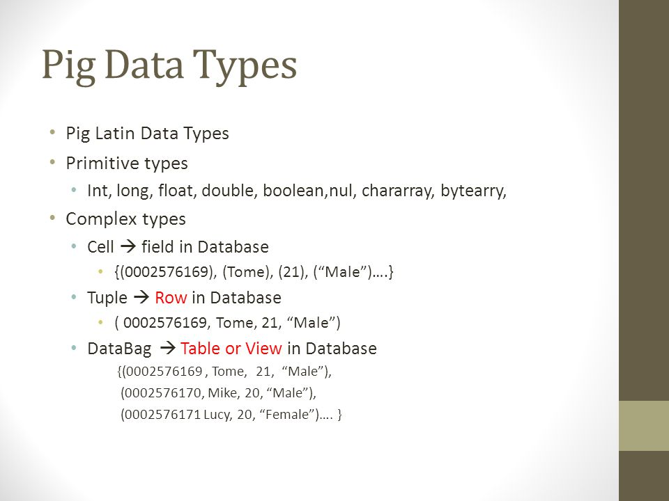 Pig Data Types Pig Latin Data Types Primitive types Complex types