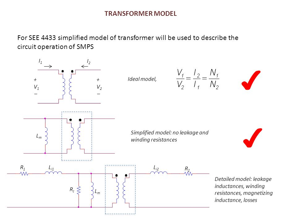TRANSFORMER MODEL For SEE 4433 simplified model of transformer will be used to describe the circuit operation of SMPS.