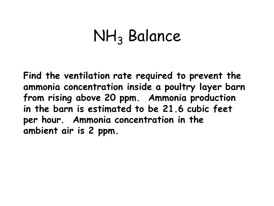 NH3 Balance Find the ventilation rate required to prevent the