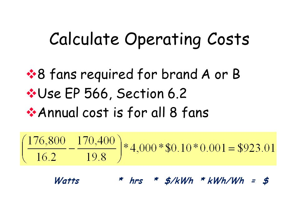 Calculate Operating Costs