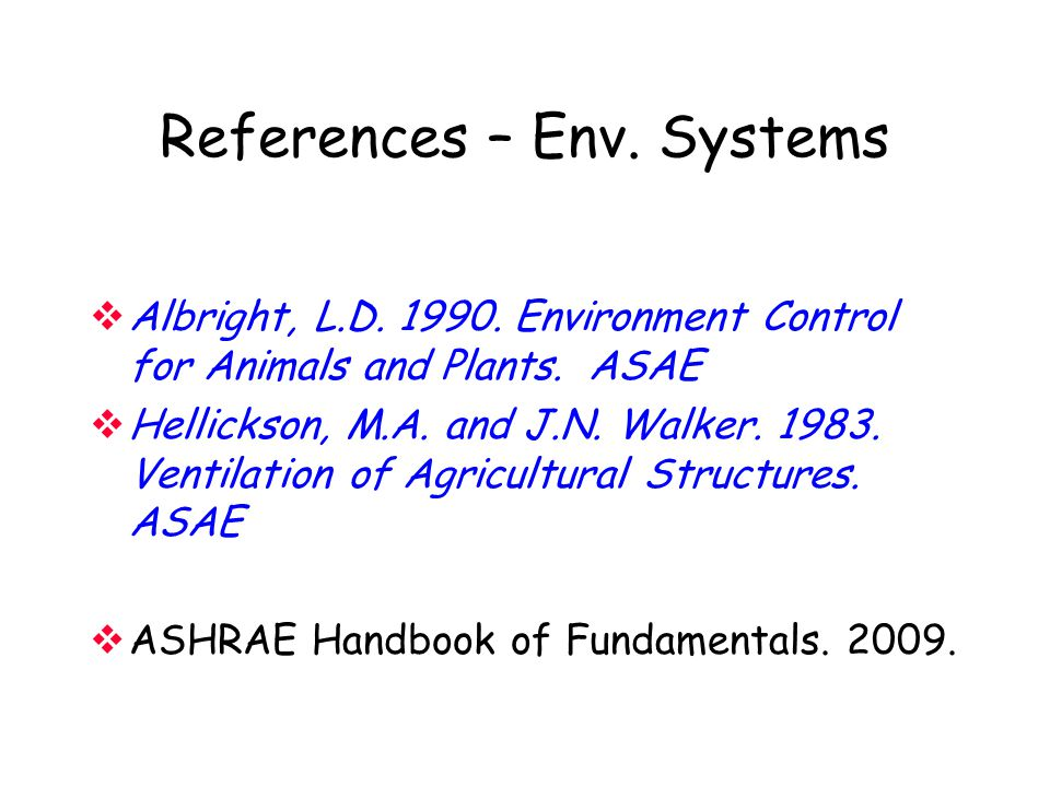 References – Env. Systems