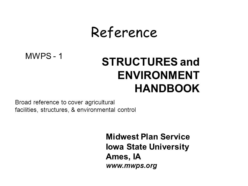 Reference STRUCTURES and ENVIRONMENT HANDBOOK MWPS - 1