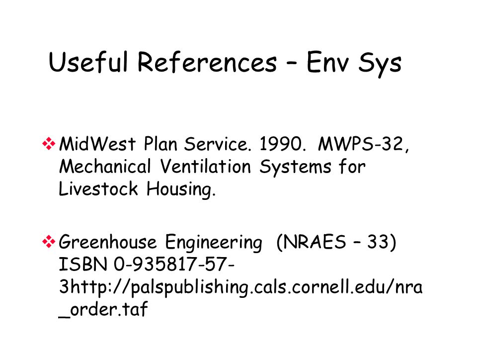 Useful References – Env Sys