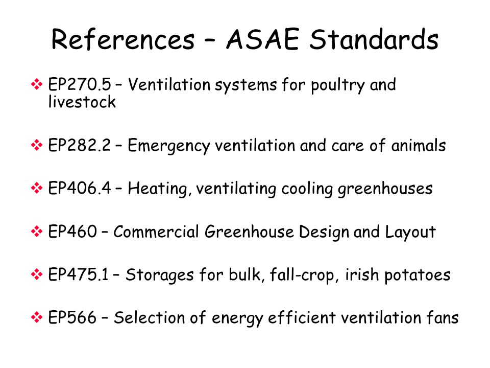 References – ASAE Standards