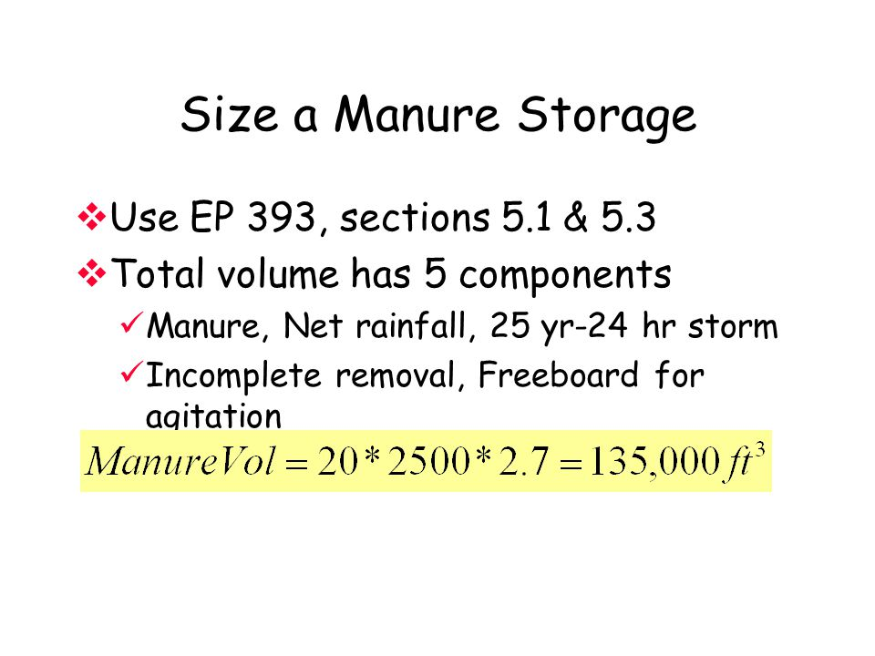 Size a Manure Storage Use EP 393, sections 5.1 & 5.3