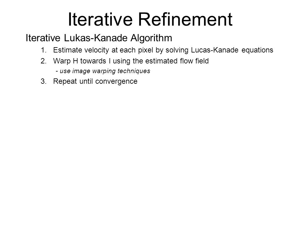 Iterative Refinement Iterative Lukas-Kanade Algorithm
