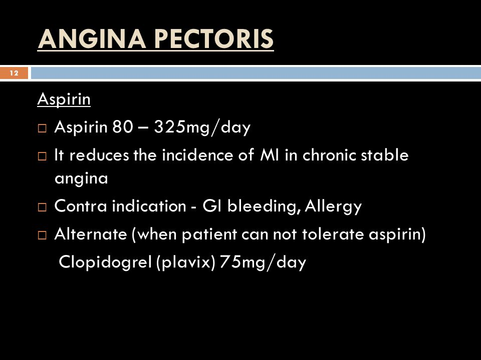 ANGINA PECTORIS Aspirin Aspirin 80 – 325mg/day