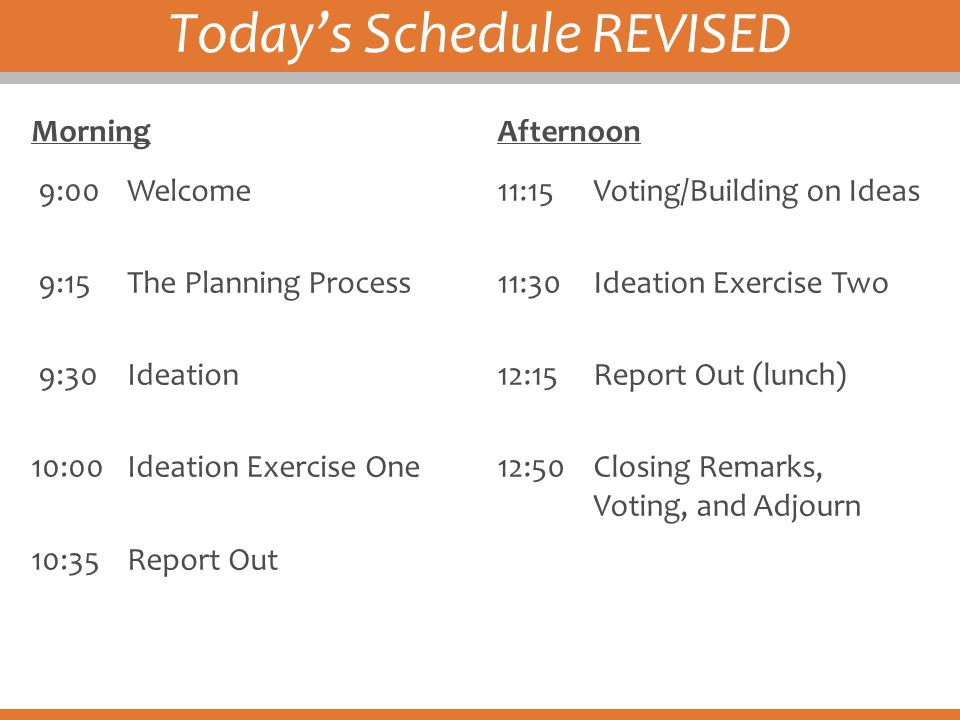Today's Schedule REVISED