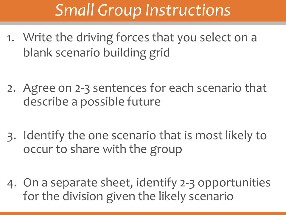 Small Group Instructions