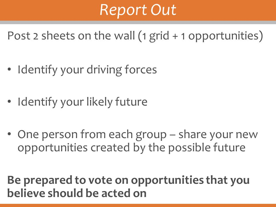 Report Out Post 2 sheets on the wall (1 grid + 1 opportunities)