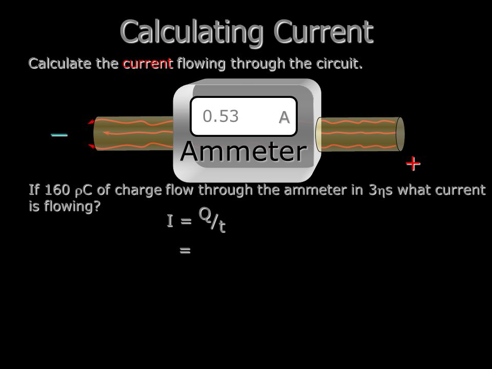 Calculating Current Ammeter _ = + A 0.53 I = Q/t