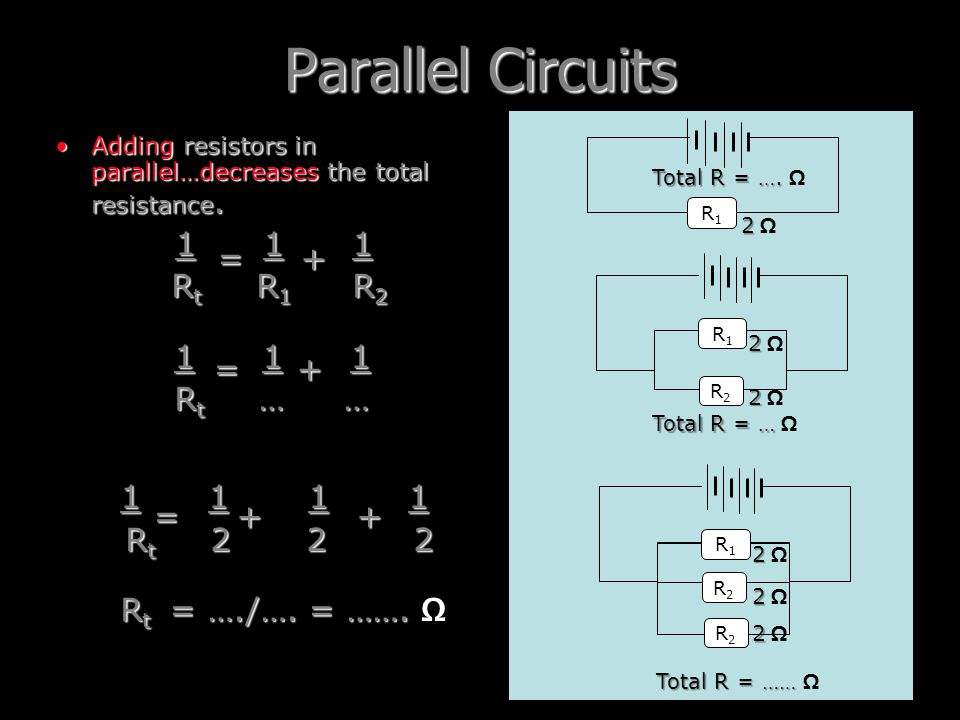Parallel Circuits 1 1 1 Rt R1 R2 = + Rt … … 1 1 1 1 Rt 2 2 2 = +