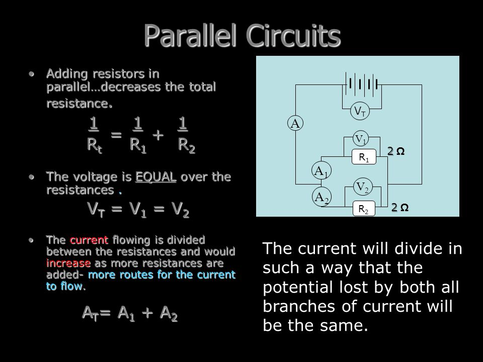 Parallel Circuits 1 1 1 Rt R1 R2 = + VT = V1 = V2