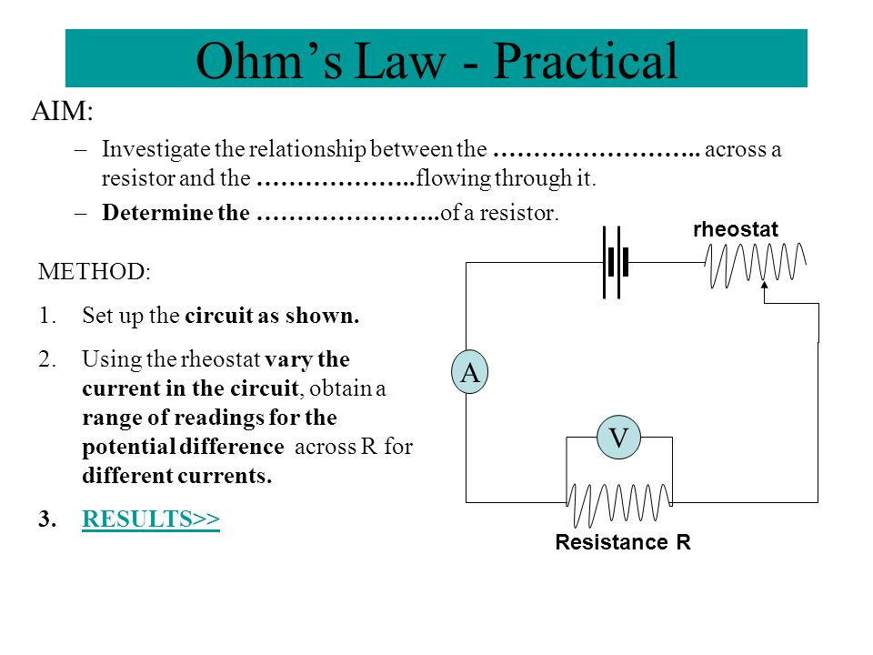 Ohm's Law - Practical AIM: A V