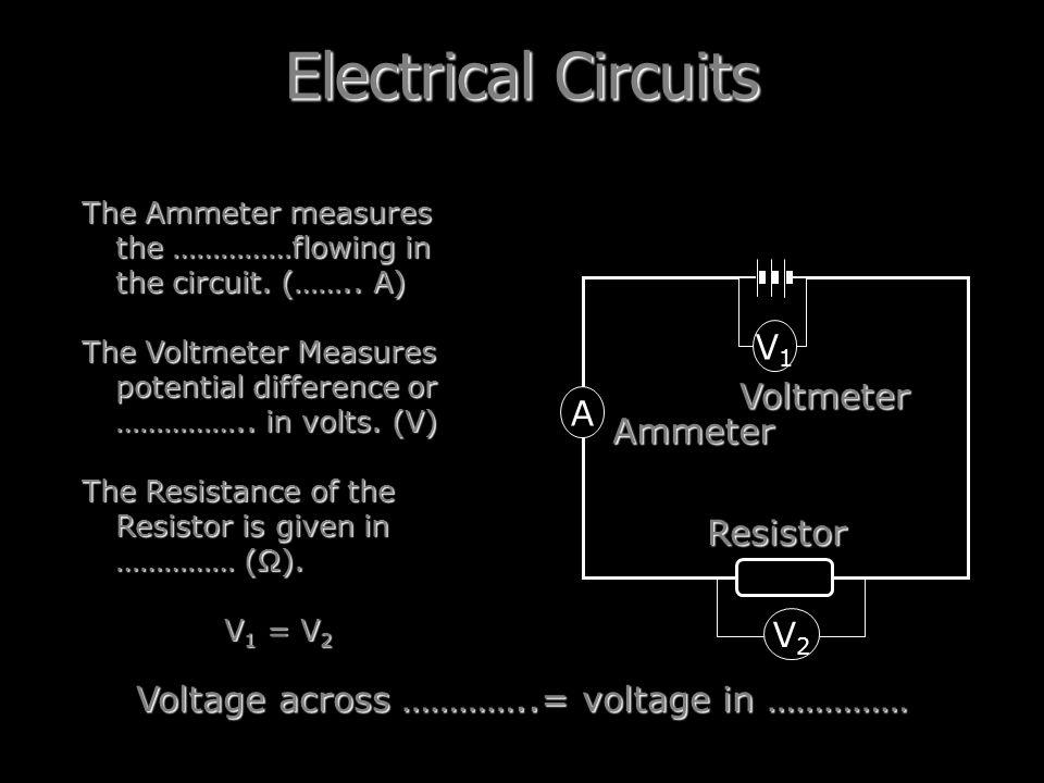 Voltage across …………..= voltage in ……………