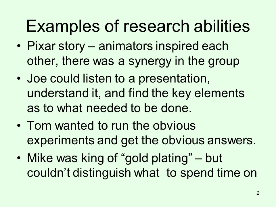 Examples of research abilities