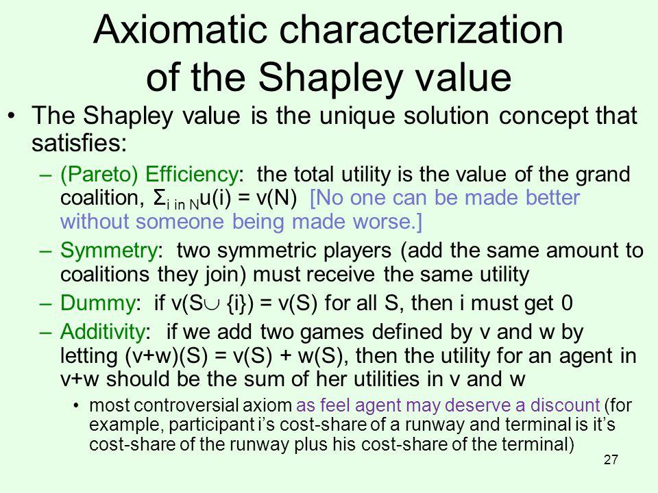 Axiomatic characterization of the Shapley value