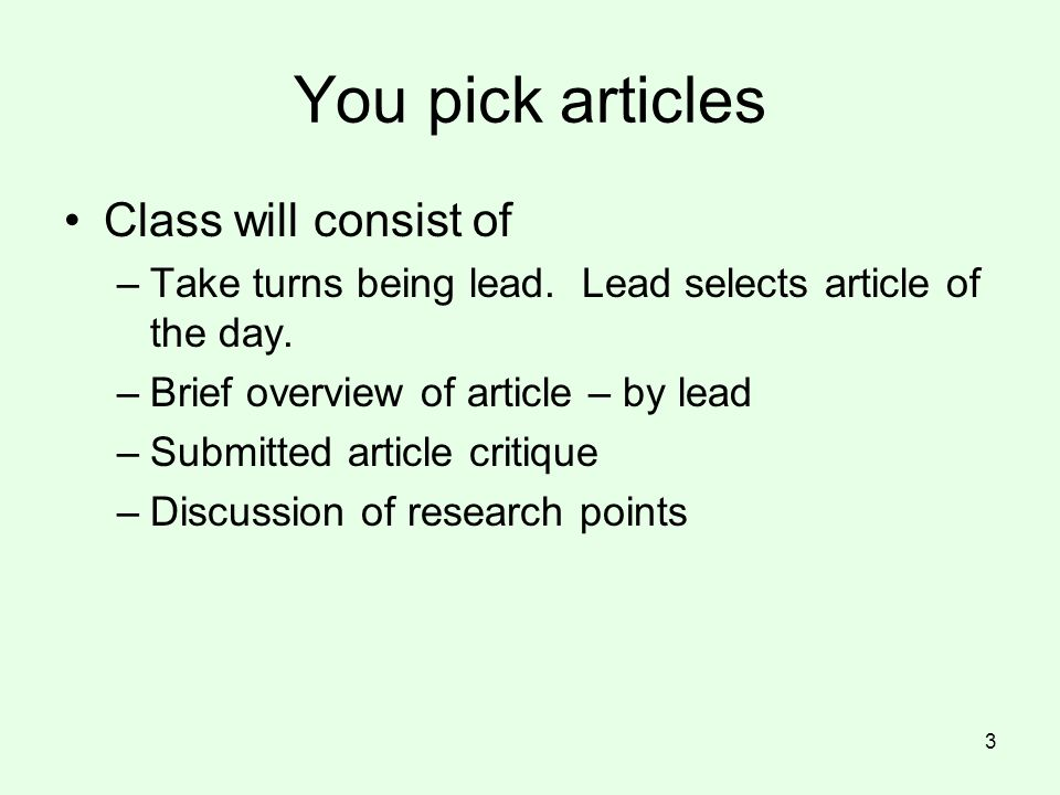 You pick articles Class will consist of