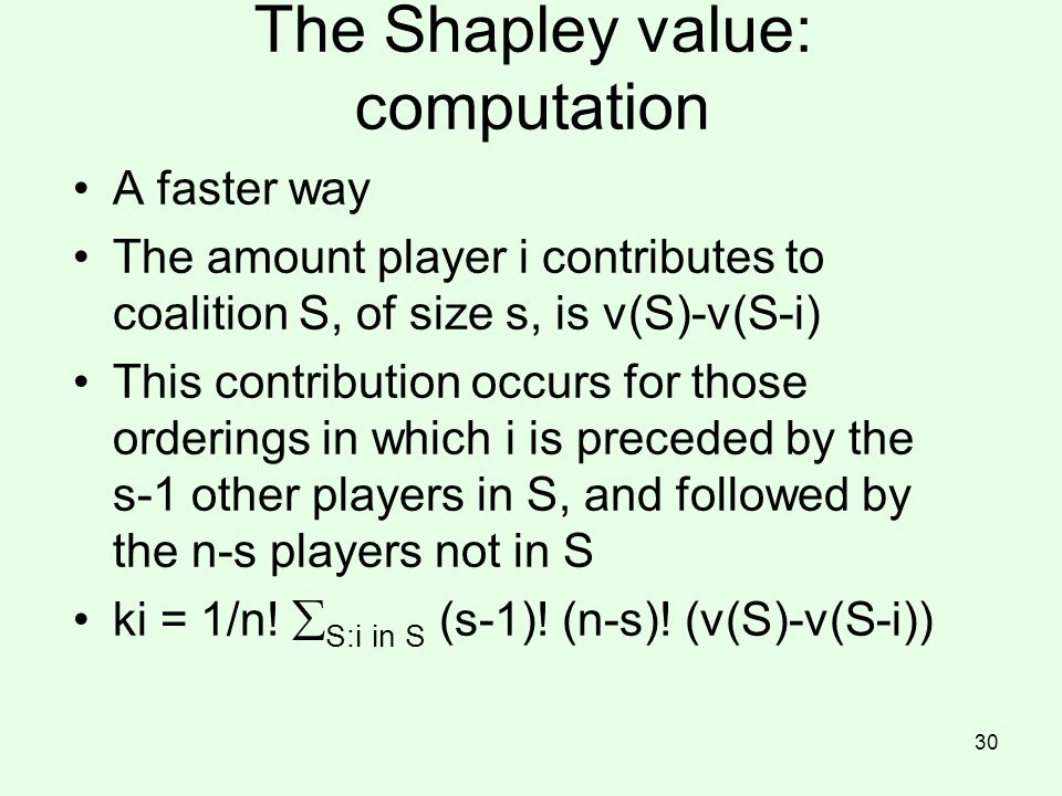 The Shapley value: computation