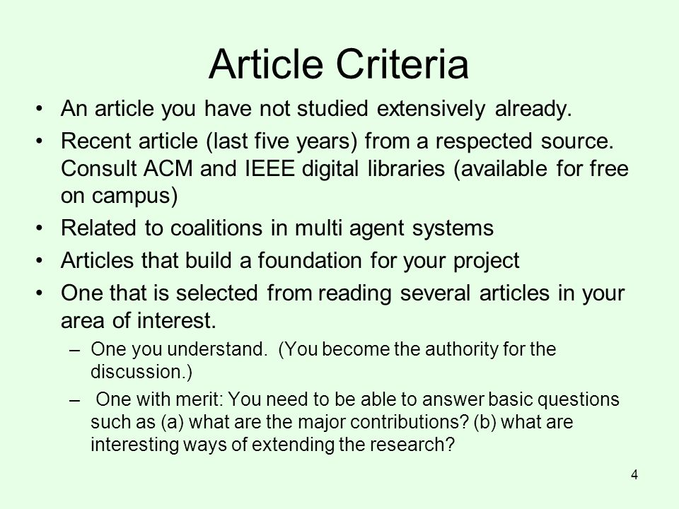 Article Criteria An article you have not studied extensively already.