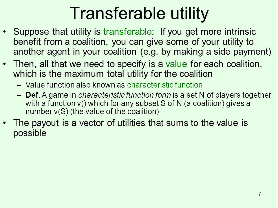 Transferable utility