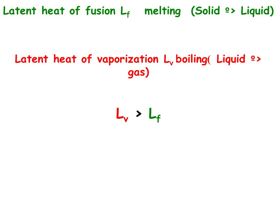 Lv > Lf Latent heat of fusion Lf melting (Solid º> Liquid)