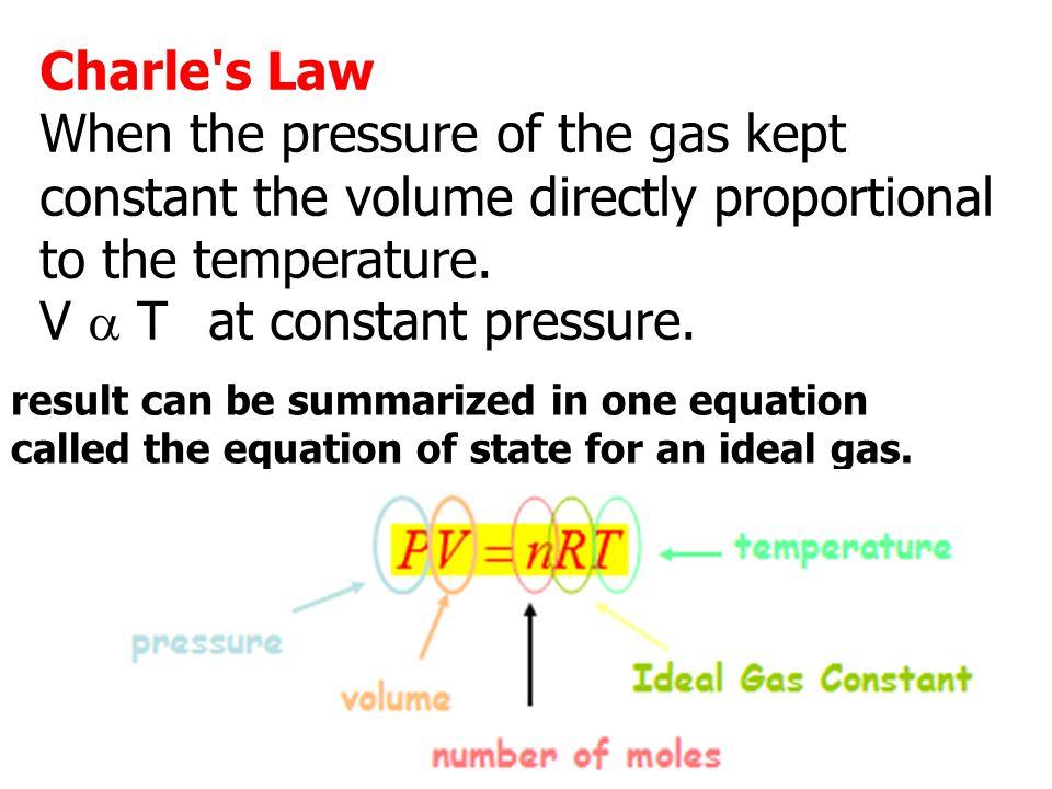 V a T at constant pressure.